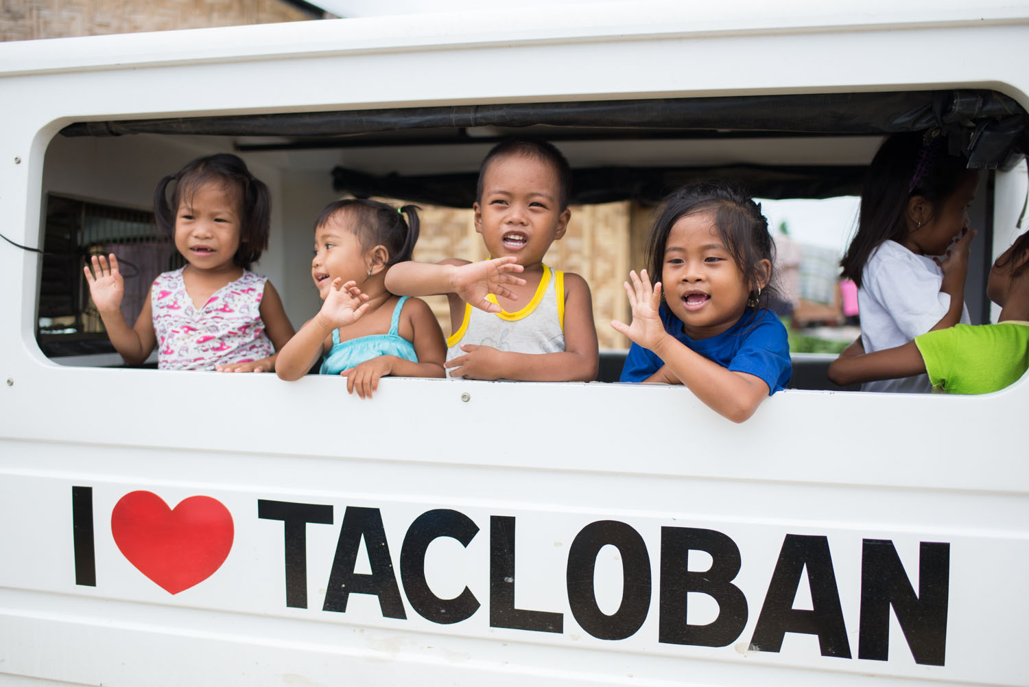 Children at a temporary housing location.