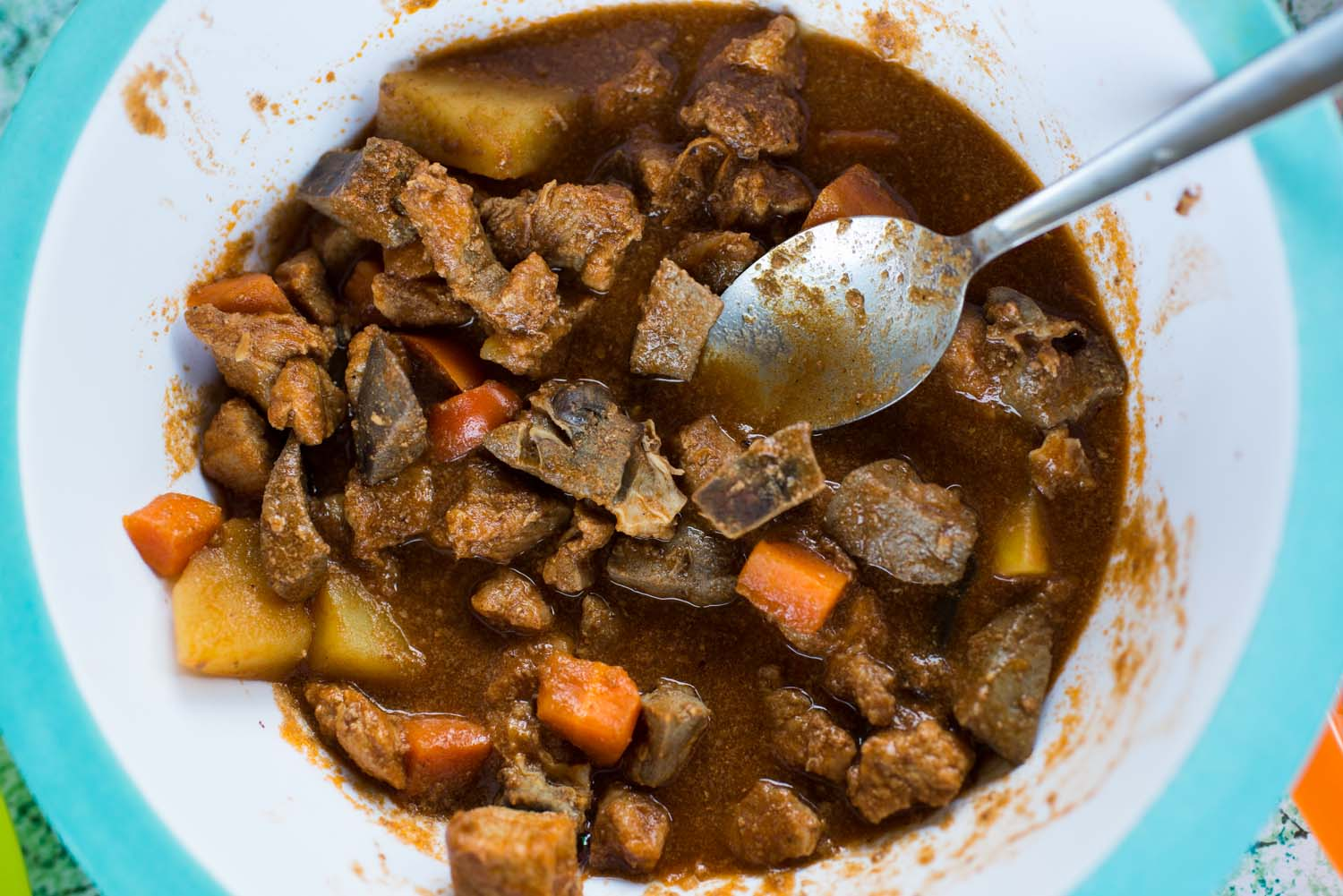 Stew made from homegrown vegetables and animals
